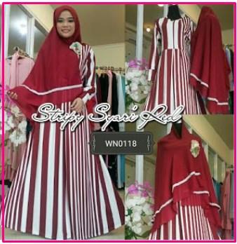 Baju Gamis Cantik Bahan Jersey Kombi Khimar Jumbo Stripy Syar'i