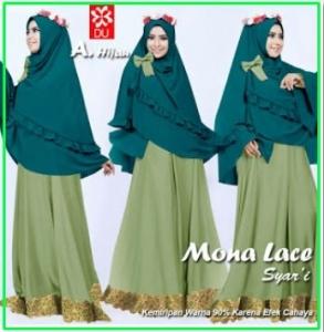 Baju Gamis Pesta Terbaru Anggun Mona Lace Hijau