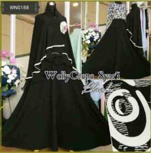 Gamis Busui Model Payung Wolly Syar'i Black