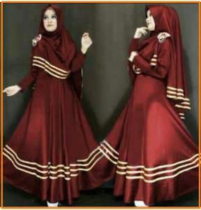 Gamis Cantik Syar'i warna Maroon Khadijah Syar'i