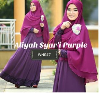 Gamis Jersey Set Bergo Aliyah Syar'i Purple