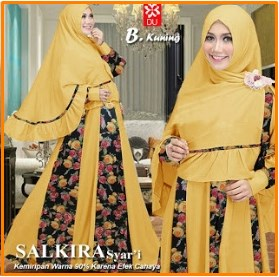 Baju Gamis Cantik dengan Kombinasi 2 Bahan Salkira Syar'i