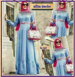 Busana Muslim Casual dengan bahan Denim Alisa Dress