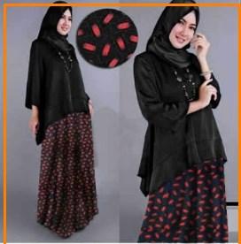 Busana Muslim Trendy Murah Bahan Jersey Mauza Oval Black