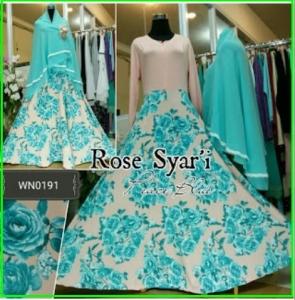 Gamis Cantik Syar'i Motif Bunga Mawar Rose Syar'i-1