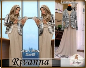 Gamis Modern Bahan Jersey Berikut Blazer Rivana Dress