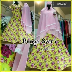 Baju Gamis Bahan Katun Cantik Bunga Syar'i