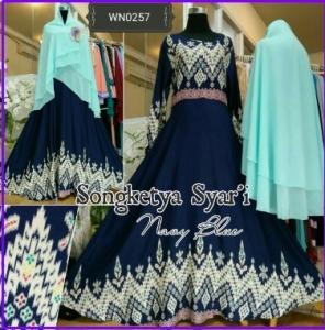 Baju Gamis Bahan Katun Motif Songkey Songketya Syar'i-1