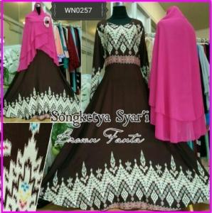 Baju Gamis Bahan Katun Songket Songketya Syar'i-3