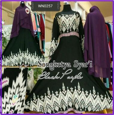 Baju Gamis Bahan Katun Songketya Syar'i-2
