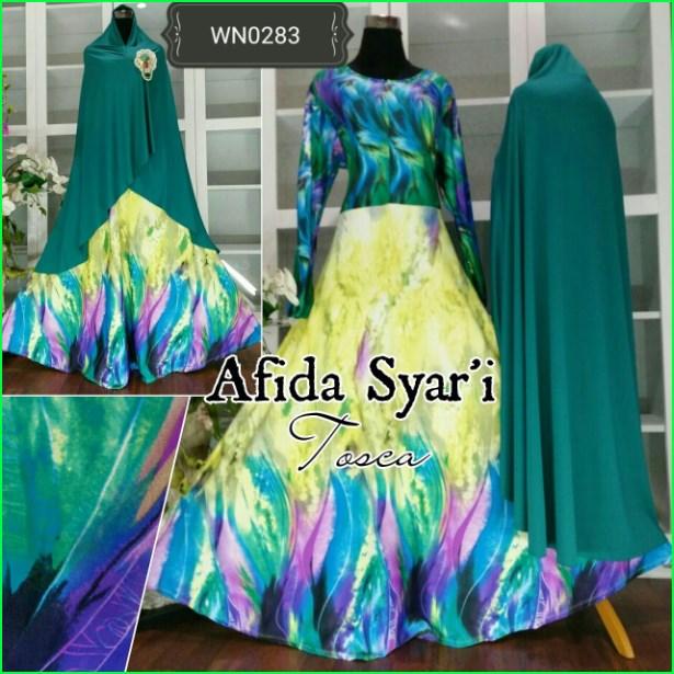 Baju Gamis Bahan Jersey Terbaru Afida Syar'i