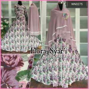 Baju Gamis Bahan Katun Import Flora Syar'i