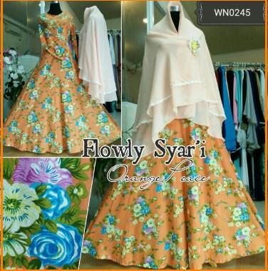 Baju Gamis Bahan Katun Jepang Flowly Syar'i-3