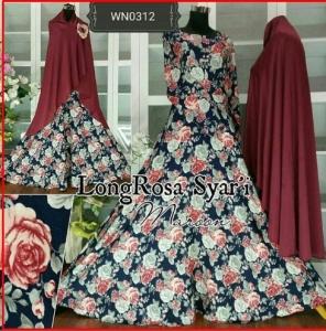 Baju Gamis Katun Terbaru Long Rosa Syar'i