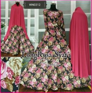 Baju Gamis Katun Terbaru long Rosa Syar'i-2