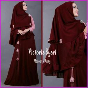 Gamis Jersey Dengan Bergo Victoria Syar'i-1