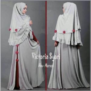 Gamis Jersey Dengan Bergo Victoria Syar'i
