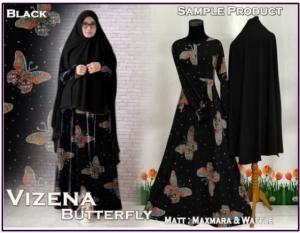 Baju Gamis Cantik Terbaru Bahan Maxmara Vizena Butterfly-1