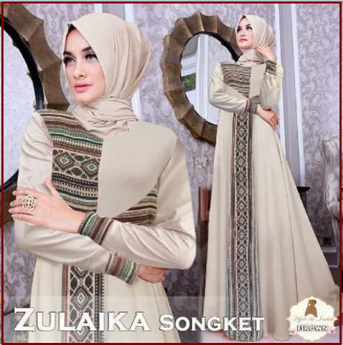 Busana Muslim Modern Zulaika Bahan Maxmara Kombinasi Songket