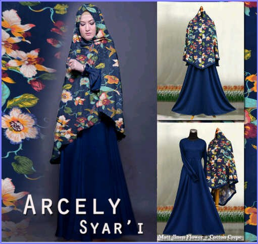 Gamis Cantik Bahan Cotton Crepe Arcely Syar'i