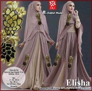 Gamis Pesta Elisha-3 Bahan Kombinasi Spandex Jersey Princess
