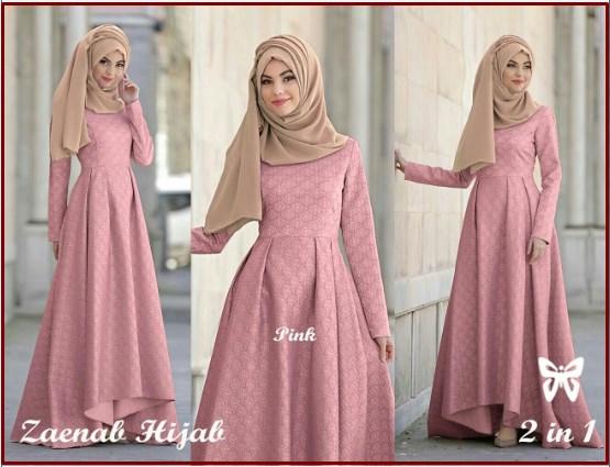 Baju Gamis Pesta Mewah Ukuran Kecil Zaenab Hijab Pink