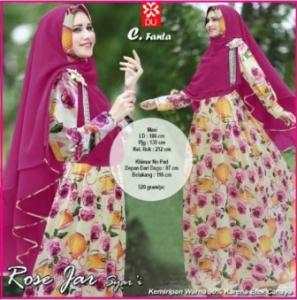 Baju Gamis Terbaru Cantik Rose Jar Syar'i Fanta