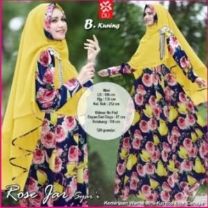 Baju Gamis Terbaru Cantik Rose Jar Syar'i Kuning