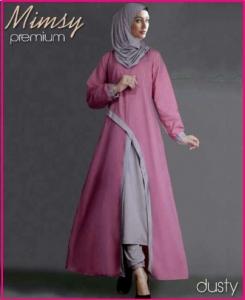 Busana Muslim Modern Anggun Bahan Katun Rayon Mimsy Set Dusty