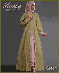 Busana Muslim Modern Anggun Bahan Katun Rayon Mimsy Set Green