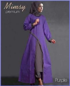 Busana Muslim Modern Anggun Bahan Katun Rayon Mimsy Set Purple