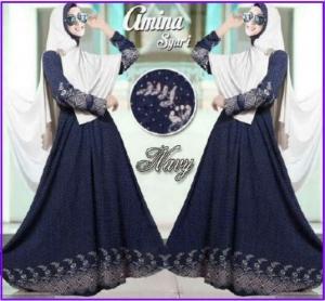 Gamis Muslimah Cantik Bahan Bubble Pop Amina Syar'i Blue