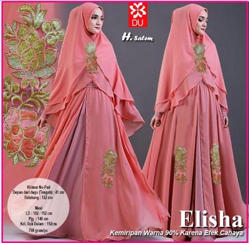 Gamis Pesta Bahan Spandex Jersey Princess-1 Elisha Syar'i Salem