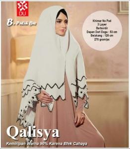 Jilbab Terbaru Manis Bahan Ceruty Khimar Qalisya Putih