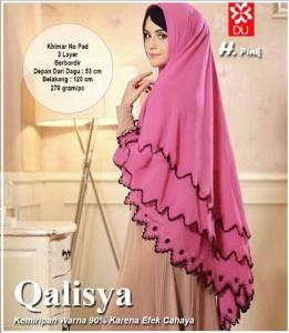 jilbab Terbaru Manis Bahan Ceruty Khimar Qalisya Pink