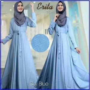Baju Gamis Katun Linen Erita Syar'i Biru