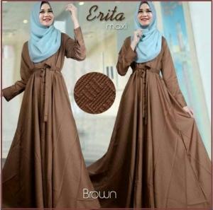 Baju Gamis Katun Linen Erita Syar'i Coklat