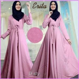 Baju Gamis Katun Linen Erita Syar'i Dusty