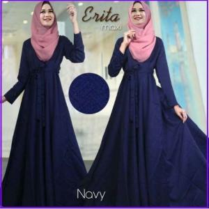Baju Gamis Katun Linen Erita Syar'i Navy
