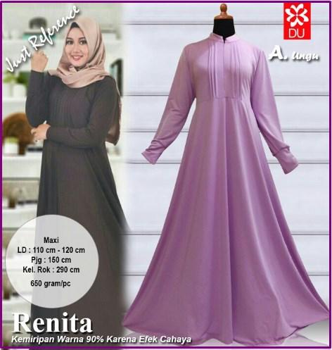 Baju Muslim Ukuran Besar Bahan Spandex Jersey Renita Ungu