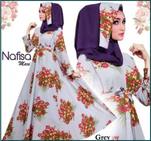 Baju Muslim Wanita Terbaru Bahan Bubble pop Nafusa Abu