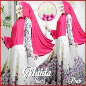 Gamis Muslimah Modern Bahan Bubble Pop Maida Syar'i Pink