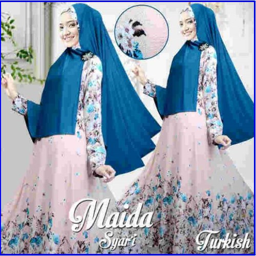 Gamis Muslimah Modern Bahan Bubble Pop Maida Syar'i Turkish