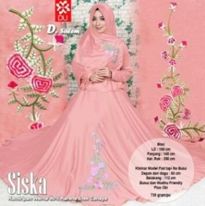 Baju Gamis Cantik Premium Bahan Balotelli Siska Syar'i Salem