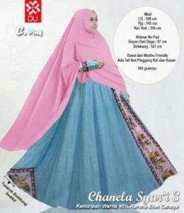 Baju Gamis Katun Bangkok Chanela Syar'i Pink