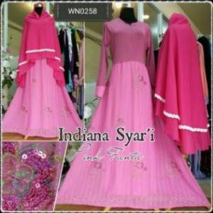 Baju Gamis Pesta Cantik Dengan Bahan Chiffon Kombinasi Indiana Syar'i