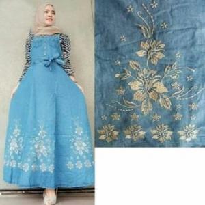 Busana Muslim Casual Bahan Kombinasi Jeans Salwa Overall
