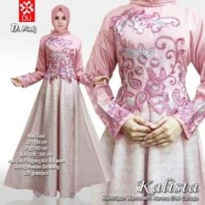 Busana Muslim Pesta Kombinasi Balotelli dan Linear Kalista Pink