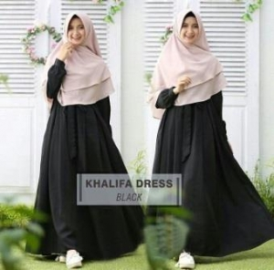 Gamis Muslimah Cantik Bahan Balotelli Khalifa Black