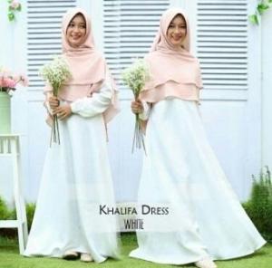 Gamis Muslimah Cantik Bahan Balotelli Khalifa White